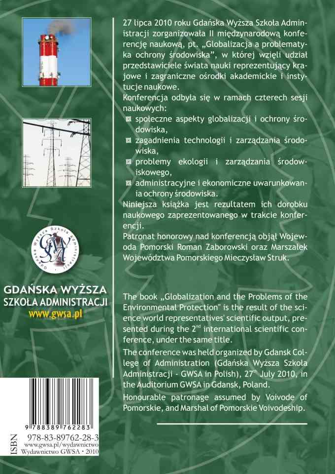 Globalizacja a problematyka ochrony środowiska 2010 - ostatnia strona okładki