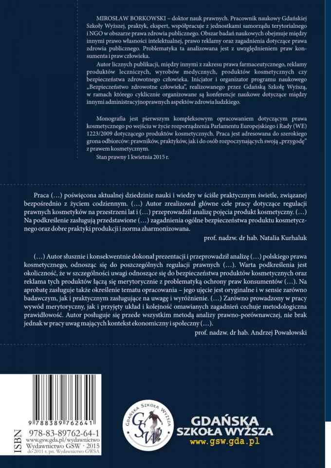 Prawo kosmetyczne. Zarys prawa polskiego i europejskiego - ostatnia strona okładki