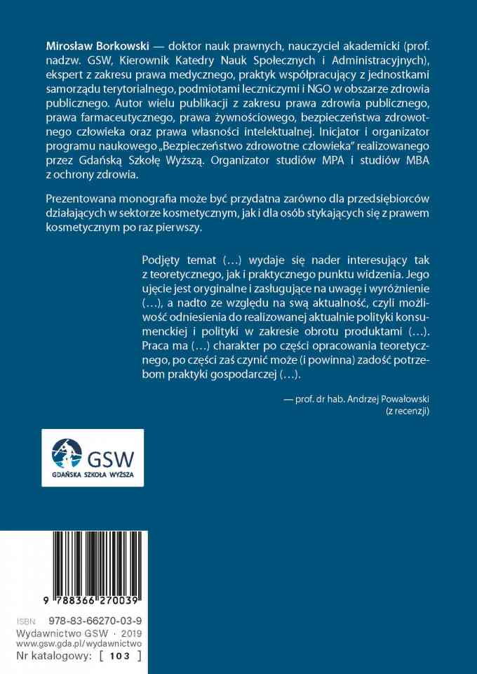 Książka Prawo kosmetyczne -okładka ostatnia strona