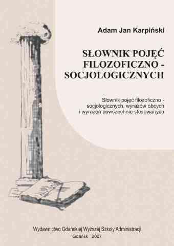 Słownik pojęć filozoficzno-socjologicznych. Dodruk 2007 - pierwsza strona okładki