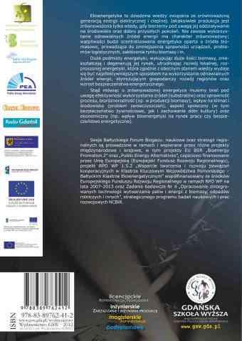 Ekoenergetyka – biogaz. Wyniki badań, technologie, prawo i ekonomika w rejonie Morza Bałtyckiego - ostatnia strona okładki