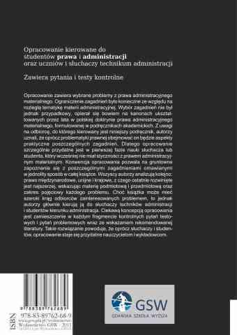 Wybrane zagadnienia z materialnego prawa administracyjnego - ostatnia strona okładki