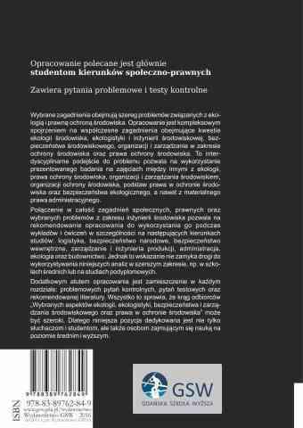 Wybrane aspekty ekologii, ekologistyki, bezpieczeństwa i zarządzania środowiskowego - ostatnia strona okładki