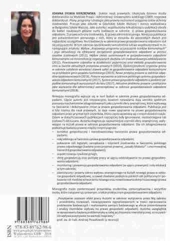 Czynniki sfery zewnętrznej wpływające na kształt prawa w zakresie gospodarowania odpadami - ostatnia strona okładki