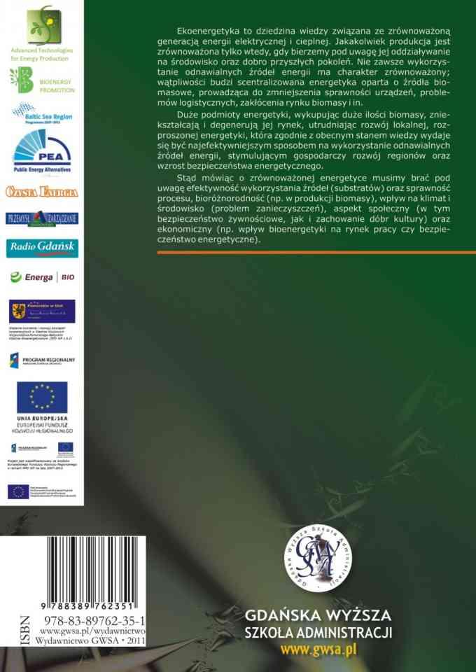 Ekoenergetyka – biogaz i syngaz. Technologie, strategie rozwoju, prawo i ekonomika w regionie Morza Bałtyckiego - ostatnia strona okładki