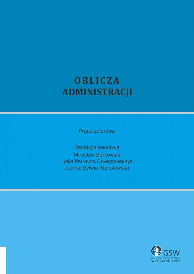 Oblicza administracji - pierwsza strona okładki